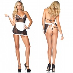 4pc Seductive French Maid, Apron Dress,G-String,Wrist Cuffs,Headband O/S Black/White