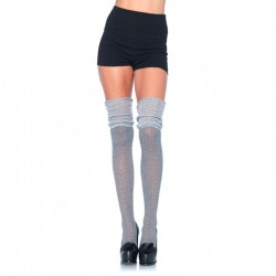 Acrylic Pointelle Over The Knee Scrunch Sock O/S Grey