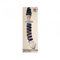 Adam & Eve Twisted Love Glass Dildo Clear/Blue