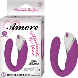 Amore Ultimate G Spot Silicone,12 Function, Waterproof W/Travel Pouch and USB Charger Purple