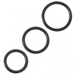 Black Steel Cock Rings (3 Piece Set)