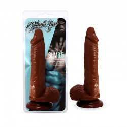 Blush Hard Steel Slim 8.5in. Cock With Suction Cup & Balls (Brown)