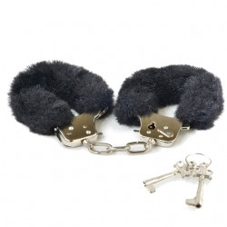 Blush Play Time Cuffs With Fur (Black)