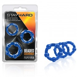 Blush Stay Hard Beaded Cock Rings 3 (Blue)