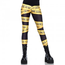 Crime Scene Tape Print Leggings Large Black/Yellow