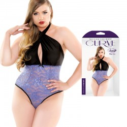 Curve Lolita Micro & Lace Teddy Blue 3X/4X