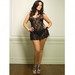 Halter Rose Lace Dress Plus Size Black