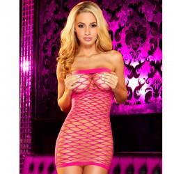 Hustler Fencenet Micro Mini Dress Pink