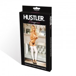 Hustler Footless Sheer Thigh High White