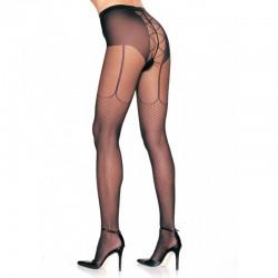 Lycra Fishnet Garter Look Lace Up Back Panty Hose O/S Black
