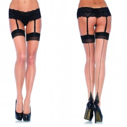 Lycra Sheer 2 Tone Thigh Hi w/Backseam & Cuban Heel O/S Nude/Black