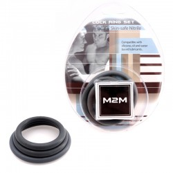 M2M Cock Ring Nitrile 3 pc Set Grey