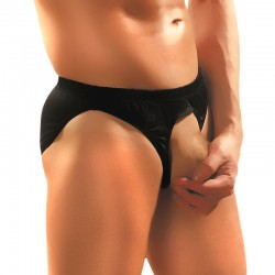 Male Power Nylon Lycra Pouchless Brief Blk OS