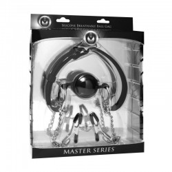 Masters HINDER - Breathable Ball Gag + Nipple Clamps