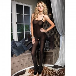 Opaque Bodystocking W/Spaghetti Straps O/S Black