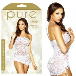 Pure Lace Strapless Dress & Matching G-String White O/S