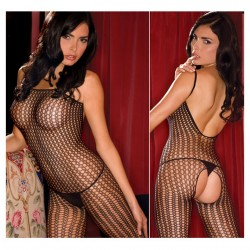 Quarter Crochet Net Bodystocking OS