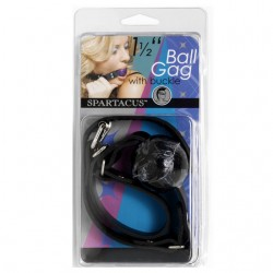 Rubber Ball Gag With Buckle 1.5 Inches (Black)