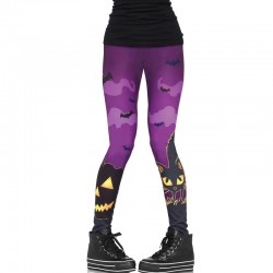 Scaredy Cat Spooky Print Leggings With Bat And Pumpkin Detail Large Multicolor