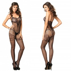 Seamless Dual Net Bodystocking w/Lace Bodice & Garter Detail O/S Black