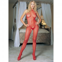 Seamless Fishnet Halter Bodystocking O/S Red