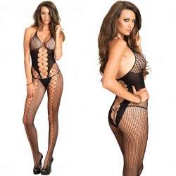 Seamless Multi Net Bodystocking With Opaque Center Panel O/S Black