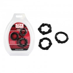 Size Matters Set of 3 Cock Rings - Black