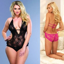 Stretch Lace Deep-V Halter Teddy With Faux Rhinestone Buckle Accent Plus Size Fuchsia