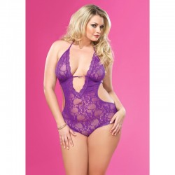 Stretch Lace Deep-V Halter Teddy With Faux Rhinestone Buckle Accent Plus Size Purple