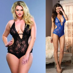 Stretch Lace Deep-V Halter Teddy With Faux Rhinestone Buckle Accent Plus Size Royal Blue