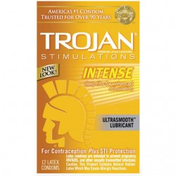 Trojan Intense Ribbed Condoms with Ultrasmooth Premium Lubricant