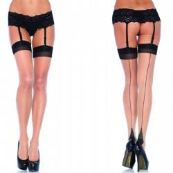 Two Toned Lycra Sheer Thigh High w/Backseam & Cuban Plus Size Nude/Black