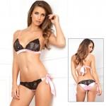 2pc Bow Boudoir Bra & Panty Set Blk S/M