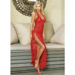 2pc Halter Lace Long Gown w/Ribbon Lace Up Side Slip & G O/S Red