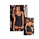 2pc Hollywood Chemise Set Black M/L