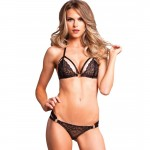 2pc Lace Cage Strap Bikini Top W/Strappy Ruched Panty Sml/Med Black