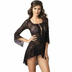 2pc  Lace Flair Sleeves Dress W/G-String O/S Black
