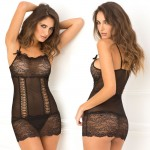 2pc Lace Front Chemise & G-String Set Black M/L