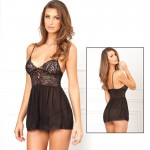 2pc Laced Up Chemise & G-String Blk M/L