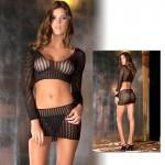 2pc Quarter Crochet Net Bodystocking O/S