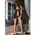 2pc Romantic Lace Babydoll w/Matching G String O/S Black