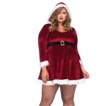 2pc Sexy Santa,Fur Trimmed Velvet Hooded Dress W/Buckle 1X-2X Red/White