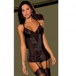 2pc Stretch Satin & Lace Garter Slip & G-String Set