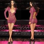 2pc Striped Fishnet Mini Dress w/G-String O/S Black/Pink