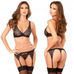 3pc Lux Lace Lurex Bra, Garter & Thong M/L