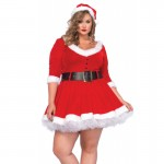 3pc Miss Santa,Fur Trimmed Velvet Dress,Belt,Santa Hat 1X-2X Red/White