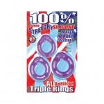 All American Triple Rings (Clear/Purple)