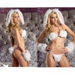 BeWicked Playful Bunny 5pc S/M Furry Bikini Top, Double Strap Thong w/Attached Tail, Wrist Cuffs, Headband