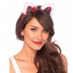 Christmas Kitty Ear Headband With Mini Holly Berry Bow O/S Multicolor