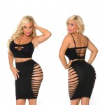 Cocolicious Up All Night Bralette & Skirt Set Black O/S